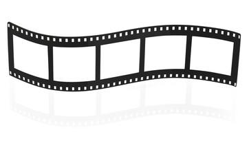 Blank film strip on white.