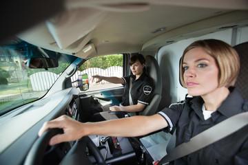 Female EMS Professional in Ambulance