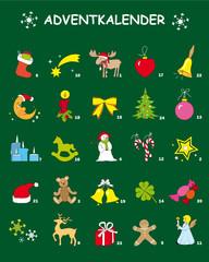 Adventskalender mit bunte Bilder und Zahlen