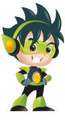 Techno Kid Mascot Standing