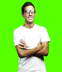 young man smiling over removable chroma key background