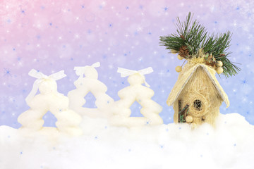 Christmas shiny background with firs and house