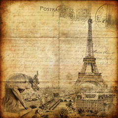 Poster Illustration Paris vintage letter - Paris