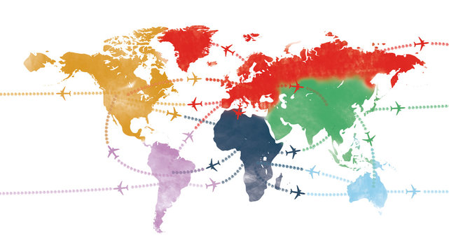 world trip on  world airline map or flight path and routes