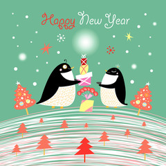Christmas card with the penguins