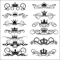 Victorian Scrolls and crown. Decorative elements. Vintage