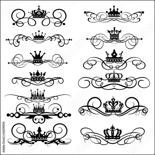 victorian scrolls and crown decorative elements vintage stock