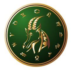 Zodiac Wheel with sign of Capricorn. Tattoo design.