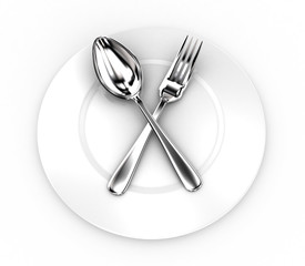 Fork and spoon on a plate