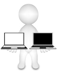 Human holding white & black laptop