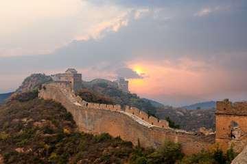 Fotobehang Chinese Muur great wall in sunset