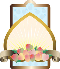 Label with the apples on the background of yellow rays. Frame.