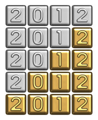 New Year's 2012 inscription of silver and gold bullion