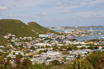 Colorful Coastal Village on Tropical Island
