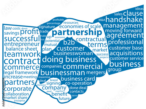 Partnership Tag Cloud Business Contract Handshake Teamwork Stock