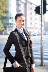 cheerful businesswoman, outdoor