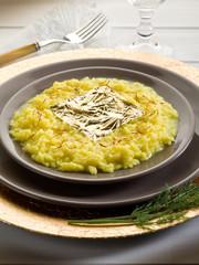 saffron risotto with gold leaf  (Gualtiero Marchesi's recipe)