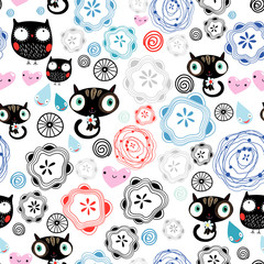 abstract pattern with kittens and owls