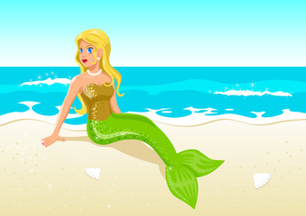 Foto op Plexiglas Zeemeermin Vector illustration of a mermaid at the beach