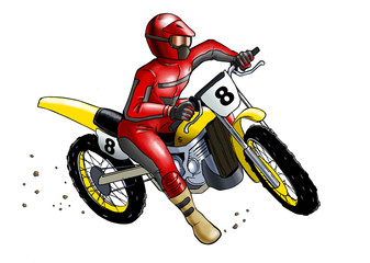Keuken foto achterwand Motorfiets Illustration of a man on motocross, tracing path included