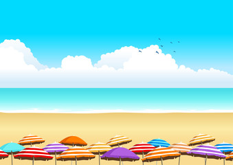 Vector illustration of parasols at the beach
