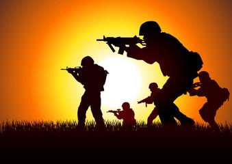 Fotorolgordijn Militair Silhouette illustration of soldiers in assault formation