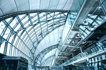 unusual geometric ceiling of office building