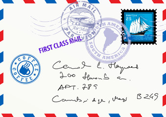 Air mail envelope with stamps and letters, vector