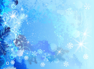 Blue snowy Christmas background