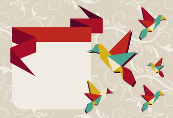 Origami hummingbird group greeting card