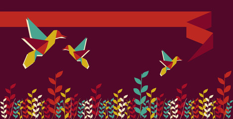 Origami hummingbird group banner