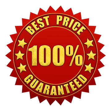 Best price guaranteed warranty label isolated