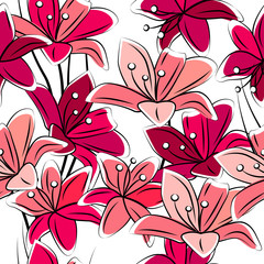 Seamless pattern with red lilies on white