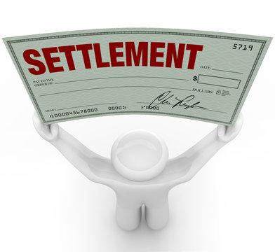 Man Holding Big Settlement Check Agreement Money