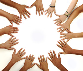 Conceptual symbol of multiracial children  hands making a circle