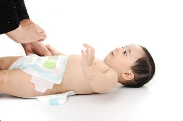 Naked cute baby isolated on white background