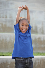 Boy with arms outstretched