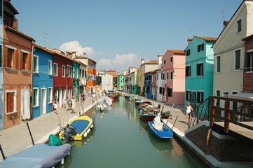 Island of Burano in the Venetian Lagoon Italy