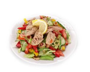 Fresh oriental salad on white background