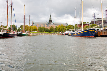 view on Nordic Museum from sea side, Stockholm