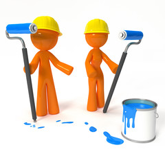 Orange Man and Woman Painters with Hard Hats
