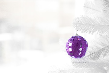 Purple bauble on Christmas Tree