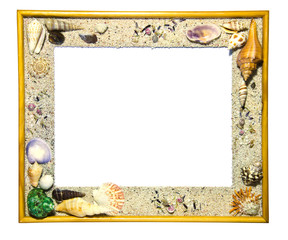 Wooden frame decorated with shells.