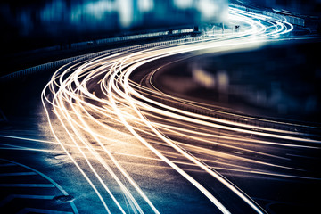 Aluminium Prints Night highway light trails