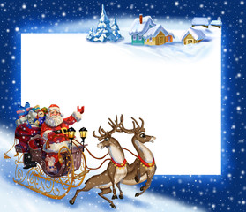 Christmas background with Santa Claus in a sleigh with reindeer