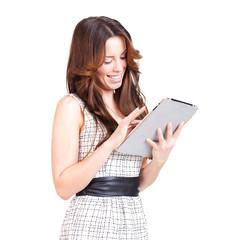 junge Frau mit Tablet Computer