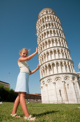 Travel - girl and the Leaning Tower in Pisa, Italy