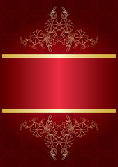 elegant red card with golden decor - vector