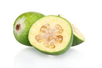 slsed feijoa fruit, isolated on white