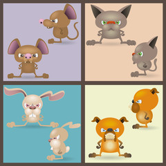 Angry domestic animals set